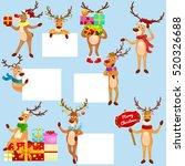 christmas set of deer with... | Shutterstock .eps vector #520326688
