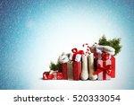 christmas gifts and white felt... | Shutterstock . vector #520333054