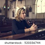 woman sitting church religion... | Shutterstock . vector #520336744