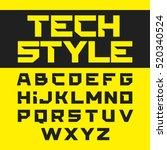 tech style brutal font vector... | Shutterstock .eps vector #520340524