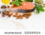 set of food with high content... | Shutterstock . vector #520349314