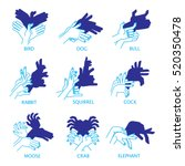 shadow hand puppets isolated on ... | Shutterstock .eps vector #520350478