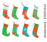christmas socks funny set  ... | Shutterstock .eps vector #520351414