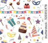 happy birthday seamless pattern ... | Shutterstock .eps vector #520351978