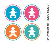 newborn icons. baby infant or... | Shutterstock .eps vector #520358230