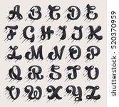 alphabet letters set. fast... | Shutterstock .eps vector #520370959