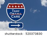 Repealing and replacing Obama Care healthcare insurance, Red, white and blue interstate highway road sign with words Trump Care with sky background 3D Illustration
