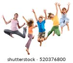 group of happy cheerful... | Shutterstock . vector #520376800
