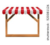 street stall with red awning...   Shutterstock . vector #520381126
