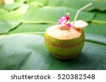 sweet green coconuts water with ... | Shutterstock . vector #520382548