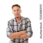 handsome man on white background | Shutterstock . vector #520388593