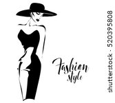 black and white retro fashion... | Shutterstock .eps vector #520395808