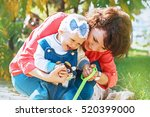 a happy family. mom and year... | Shutterstock . vector #520399000