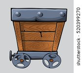 empty wooden mine cart for your ...