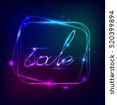 neon square. neon blue light.... | Shutterstock .eps vector #520399894