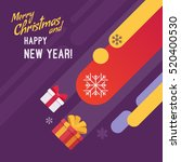 new year and christmas card... | Shutterstock .eps vector #520400530
