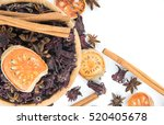 Small photo of Group of Herb such as cinnamon,star-anise,aegle,roselle they are in dried.