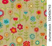 vector flower pattern. colorful ... | Shutterstock .eps vector #520406743