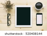 top view of white tablet blank... | Shutterstock . vector #520408144