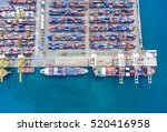 container ship in export and... | Shutterstock . vector #520416958