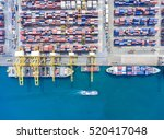container ship in export and... | Shutterstock . vector #520417048