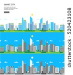 city landscape. three versions | Shutterstock .eps vector #520423108