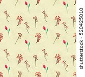 seamless pattern with flowers... | Shutterstock . vector #520425010
