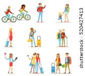 happy people traveling and... | Shutterstock .eps vector #520427413