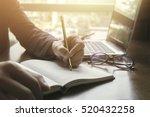 left hand student writes...   Shutterstock . vector #520432258