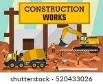 construction works. a group of... | Shutterstock .eps vector #520433026