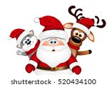 christmas card. santa with... | Shutterstock .eps vector #520434100