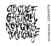 alphabet poster  dry brush ink... | Shutterstock .eps vector #520439578