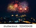 beautiful firework display for... | Shutterstock . vector #520450438
