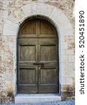 The Entrance Wooden Door In An...