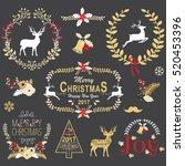gold christmas chalkboard... | Shutterstock .eps vector #520453396