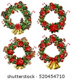 set of christmas wreaths and... | Shutterstock .eps vector #520454710