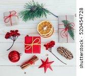 christmas gift boxes... | Shutterstock . vector #520454728
