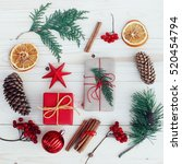christmas gift boxes... | Shutterstock . vector #520454794