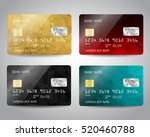 Realistic detailed credit cards set with colorful gold, red, black, blue triangular design background. Vector illustration EPS10 | Shutterstock vector #520460788