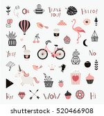 vector set of cartoon badges ... | Shutterstock .eps vector #520466908
