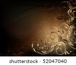 Vector Black And Gold Floral...