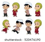 set of kid muslim people doing... | Shutterstock .eps vector #520476190