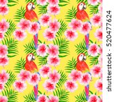 tropical pattern with... | Shutterstock . vector #520477624