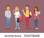 young style people with gadgets ... | Shutterstock .eps vector #520478608