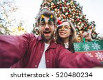 happy couple in with decorated... | Shutterstock . vector #520480234