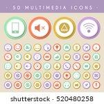 set of 50 multimedia icons on... | Shutterstock .eps vector #520480258