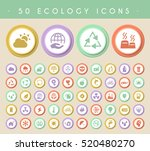 set of 50 ecology icons on... | Shutterstock .eps vector #520480270