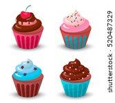 sweet food chocolate cake.... | Shutterstock .eps vector #520487329