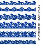 blue waves sea ocean vector... | Shutterstock .eps vector #520489159