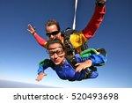 skydive tandem happy   Shutterstock . vector #520493698